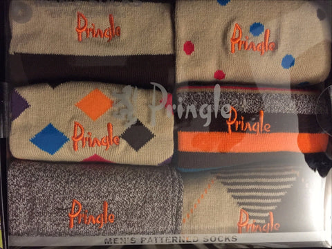 Accessories - Pringle 6-pack Multi-Coloured Men's Patterned Socks - Brown