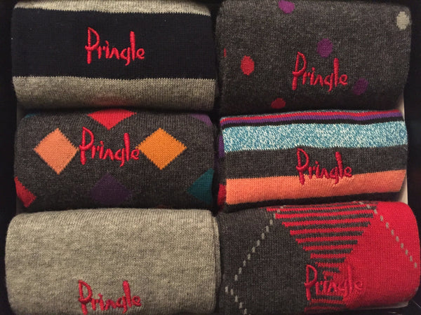Accessories - Pringle 6-pack Multi-Coloured Men's Patterned Socks - Pink/Red