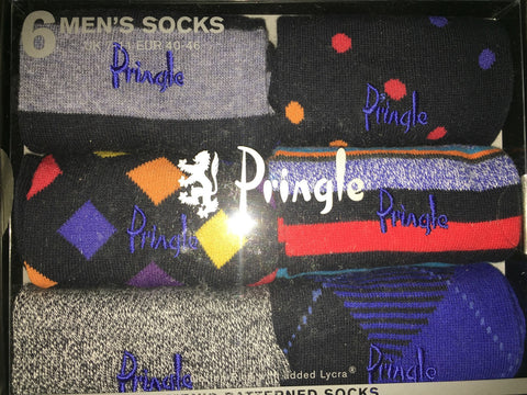 Accessories - Pringle 6-pack Multi-Coloured Men's Patterned Socks - Purple