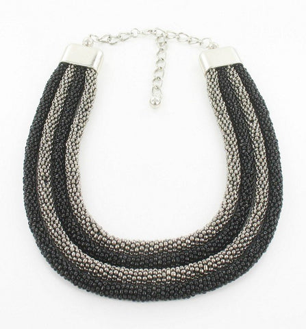 Accessories - SHORT BLACK & GREY 4-STRAND BEADED NECKLACE