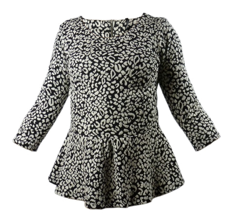 Blouse - Ladies - Animal Print Jersey Textured Peplum Top - NEXT