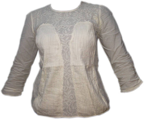 Blouse - Ladies - LADIES PINTUCK/LACE PANEL DETAIL LONG SLEEVE TUNIC TOPS
