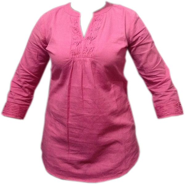 Blouse - Ladies - LADIES PINTUCK/LINEN PANEL DETAIL LONG SLEEVE TUNIC TOP