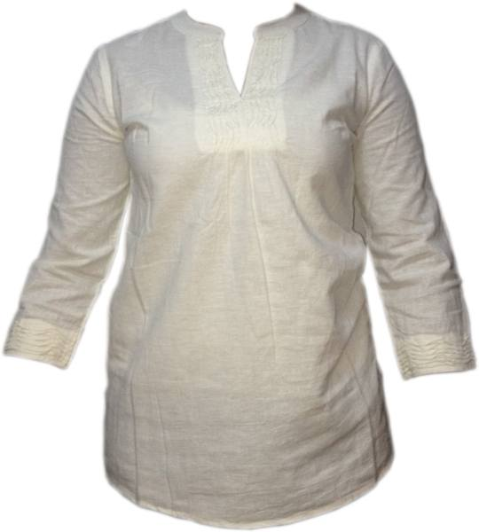 LADIES PINTUCK/LINEN PANEL DETAIL LONG SLEEVE TUNIC TOPS - Ninostyle