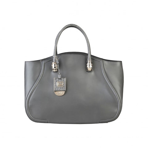 Cavalli Class Daphne Calf Leather Handbag - Dark Grey