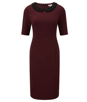 Dress - Ladies - Berry Beaded Collar Jersey Dress - CC Fashion UK