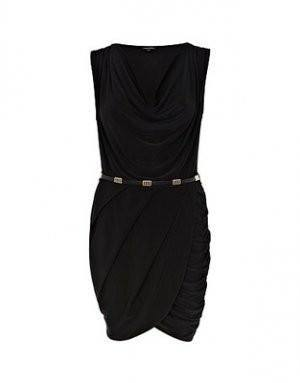 Dress - Ladies - Black Sleeveless Slinky Wrap Dress - RIVER ISLAND