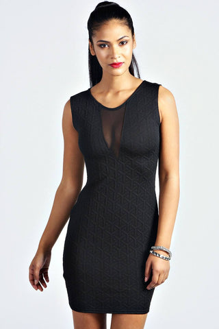 Dress - Ladies - Black Textured Mesh Front Bodycon Dress