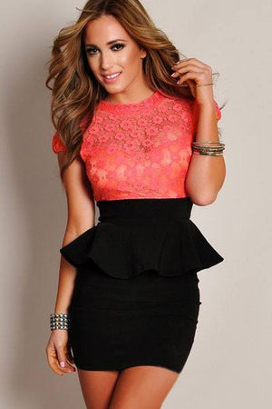 Celestial Coral Floral Lace Black Peplum Dress - Ninostyle