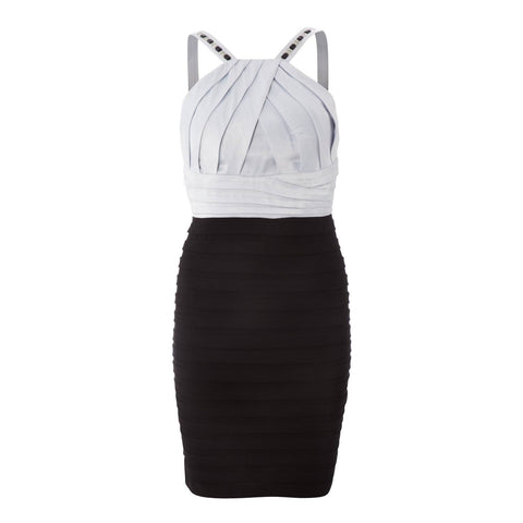 Dress - Ladies - Dress - Black And Silver Halter Dress - SCARLETT NITE