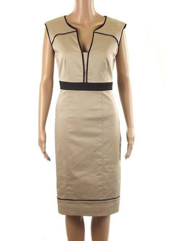 Dress - Ladies - Ladies Beige Contrast Black Trim Sleeveless Dress - Betty Jackson