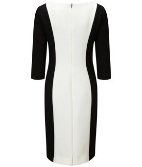 Dress - Ladies - Ladies Black/cream Lined Jersey Dress - CC Fashion UK