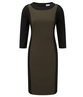 Dress - Ladies - Ladies Black/khaki Lined Jersey Dress - CC Fashion UK