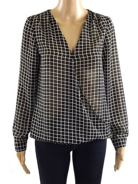 Dress - Ladies - LADIES BLACK/WHITE SQUARE PRINT WRAPOVER/V-NECK LONG SLEEVE CHIFFON   TUNIC TOPS