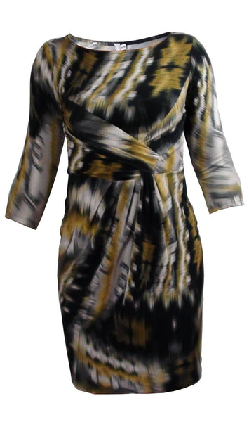 Dress - Ladies - LADIES GREY/YELLOW MIX SMUDGE EFFECT PRINT RUCHED JERSEY DRESSES - Unbranded