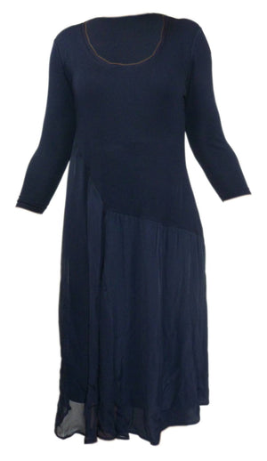 Ladies Long Sleeved Lace Detailed Blue Dress - Unbranded - Ninostyle