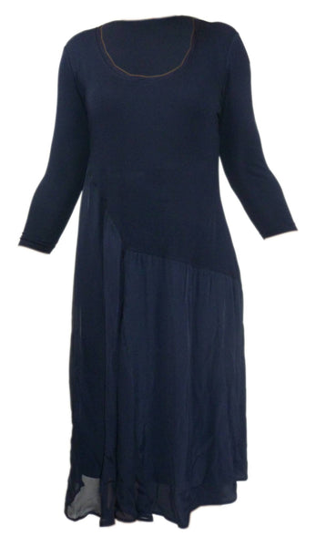 Dress - Ladies - Ladies Long Sleeved Lace Detailed Blue Dress - Unbranded