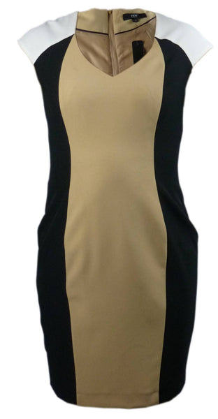 Dress - Ladies - Ladies Short Sleeve Brown/Black Lined Dress - YEN