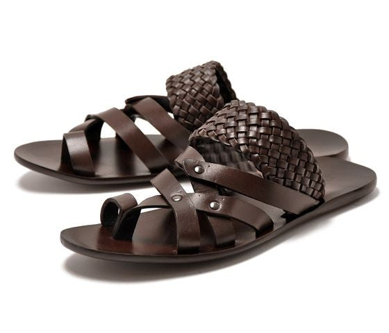 FABIANO RICCI - Woven round towline Sandals - Brown