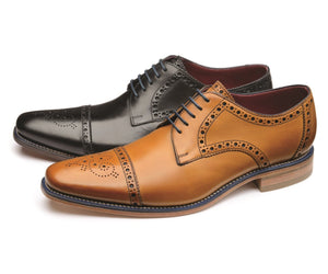 LOAKE Foley Stylish Brogue Derby Shoes - Black OR Tan - Ninostyle