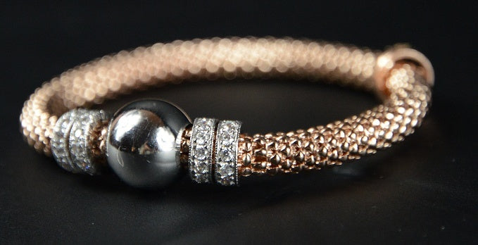 Rose Gold Plated Silver Beaded Stretch Bracelet with multiple Rows of Cubic Zirconia Rings 19cm long - Ceilo Milan - Ninostyle