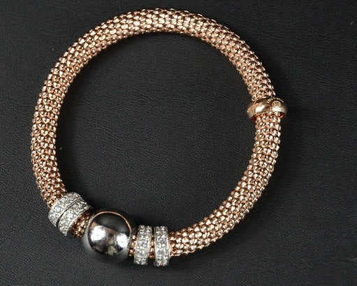 Jewellery - Ladies - Rose Gold Plated Silver Beaded Stretch Bracelet With Multiple Rows Of Cubic Zirconia Rings 19cm Long - Ceilo Milan