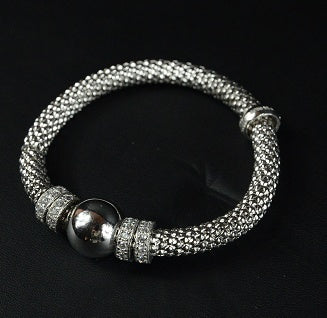 Jewellery - Ladies - White Gold Plated Sterling Silver Beaded Stretch Bracelet With Multiple Rows Of Cubic Zirconia Rings 19cm Long - Ceilo Milan