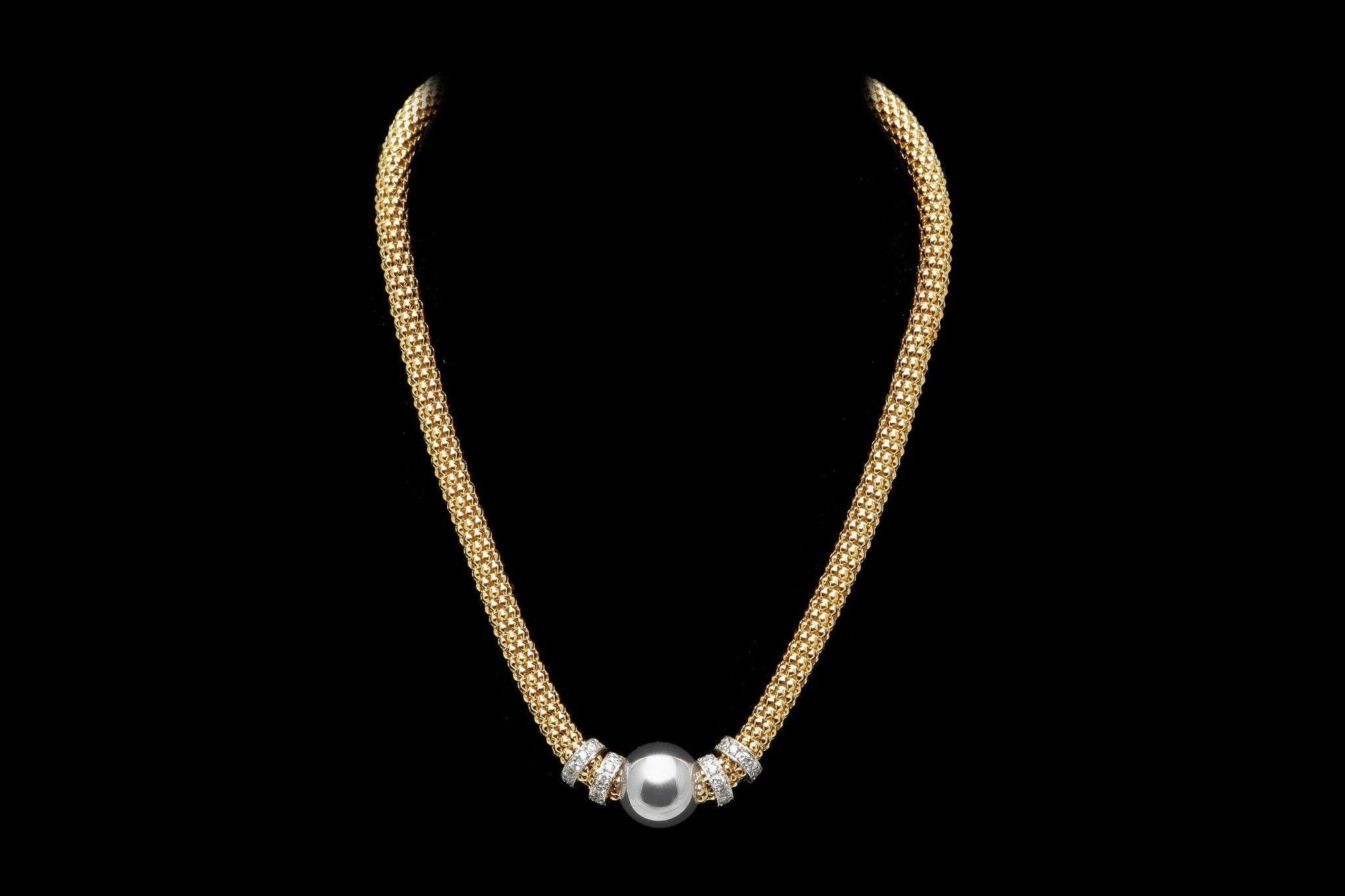 Yellow Gold Plated Silver Beaded NECKLACE with multiple Rows of Cubic Zirconia Rings  - Ceilo Milan - Ninostyle