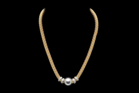 Jewellery - Ladies - Yellow Gold Plated Silver Beaded NECKLACE With Multiple Rows Of Cubic Zirconia Rings  - Ceilo Milan