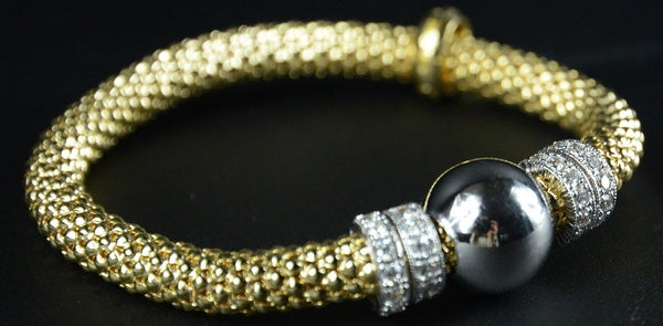 Jewellery - Ladies - Yellow Gold Plated Silver Beaded Stretch Bracelet With Multiple Rows Of Cubic Zirconia Rings 19cm Long - Ceilo Milan