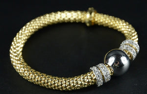 Yellow Gold Plated Silver Beaded Stretch Bracelet with multiple Rows of Cubic Zirconia Rings 19cm long - Ceilo Milan - Ninostyle