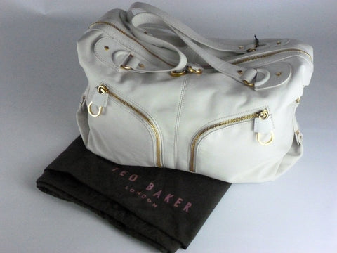 Ladies Bag - Ted Baker Womens White Zip Front Bowling Bag