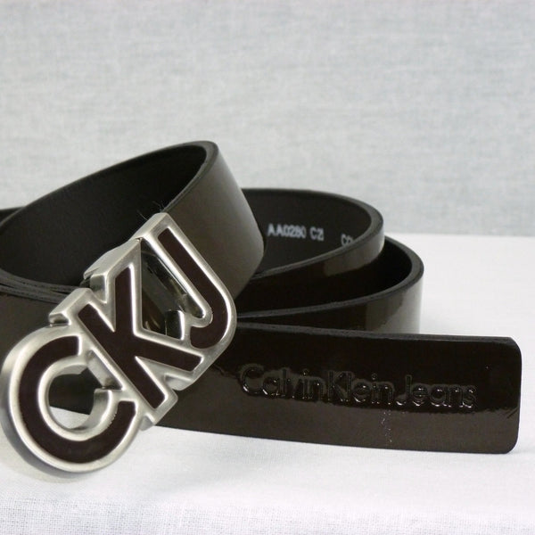 Ladies Belt - Calvin Klein Jeans Leather Buckle Belt Brown- Women