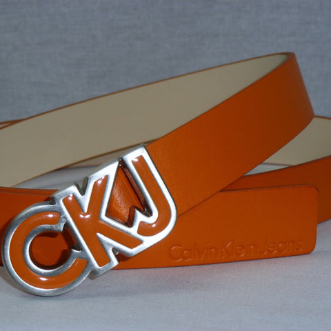 Ladies Belt - Calvin Klein Jeans Leather Buckle Belt Orange - Women