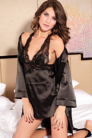 2PC Seduce Slip Satin Sleepwear Black - Ninostyle