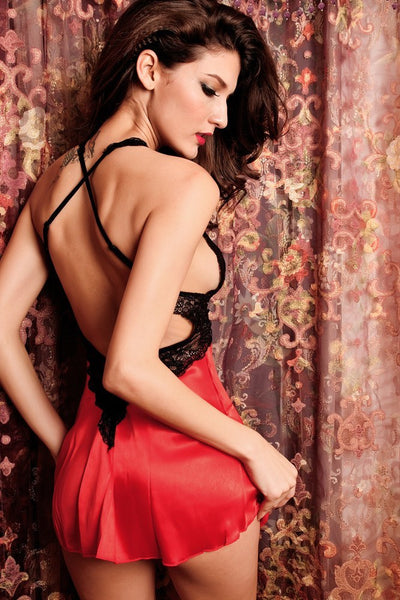 Lingerie - 2PC Seduce Slip Satin Sleepwear Red