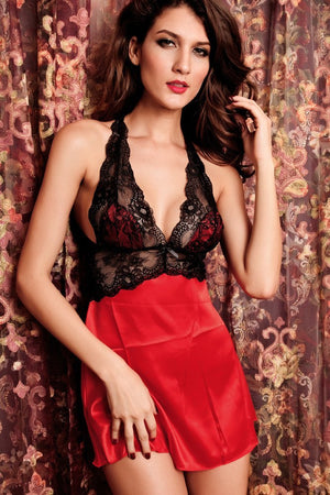 2PC Seduce Slip Satin Sleepwear Red - Ninostyle