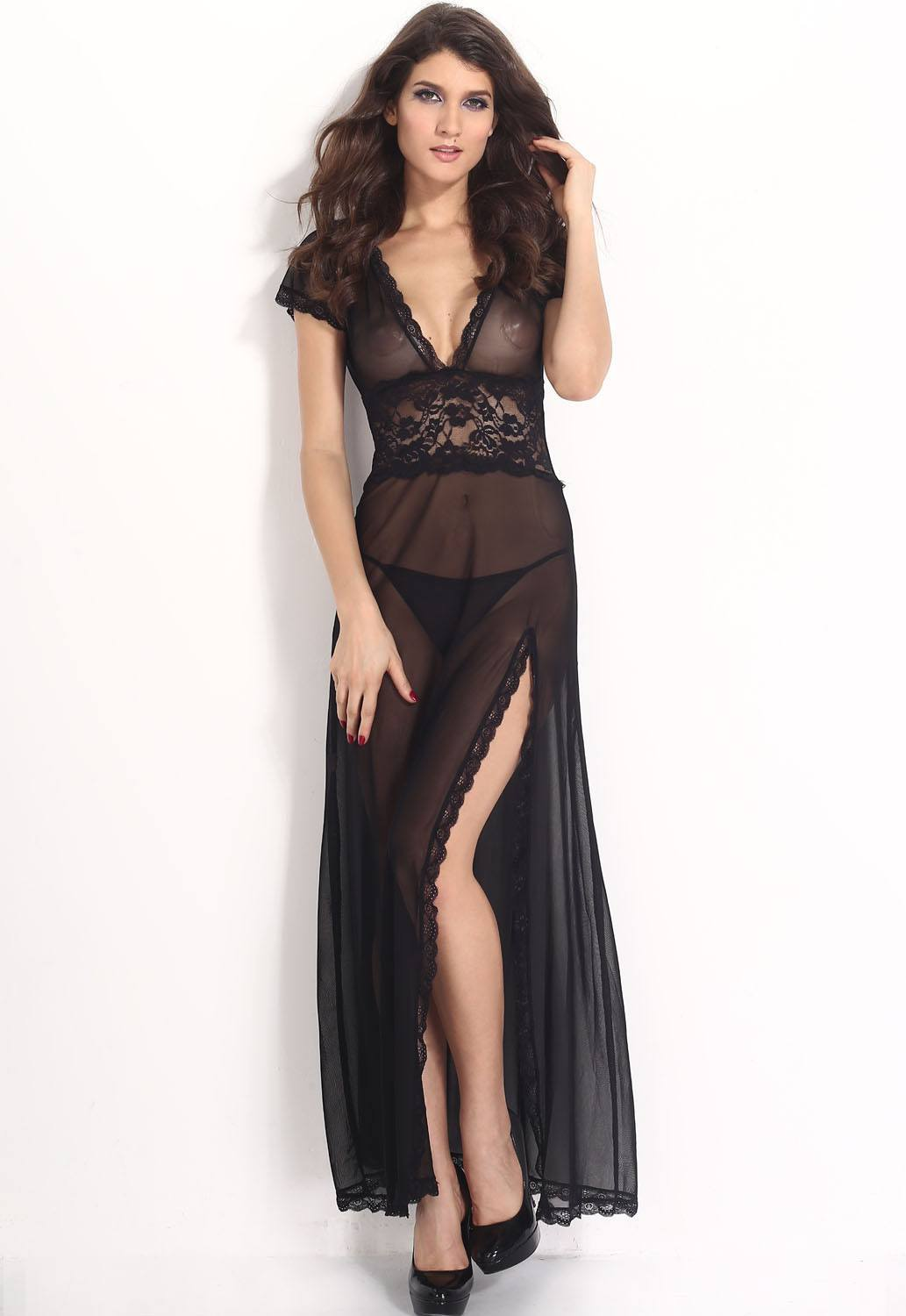 Black Mesh and Lace V Neck Lingerie Gown - Ninostyle