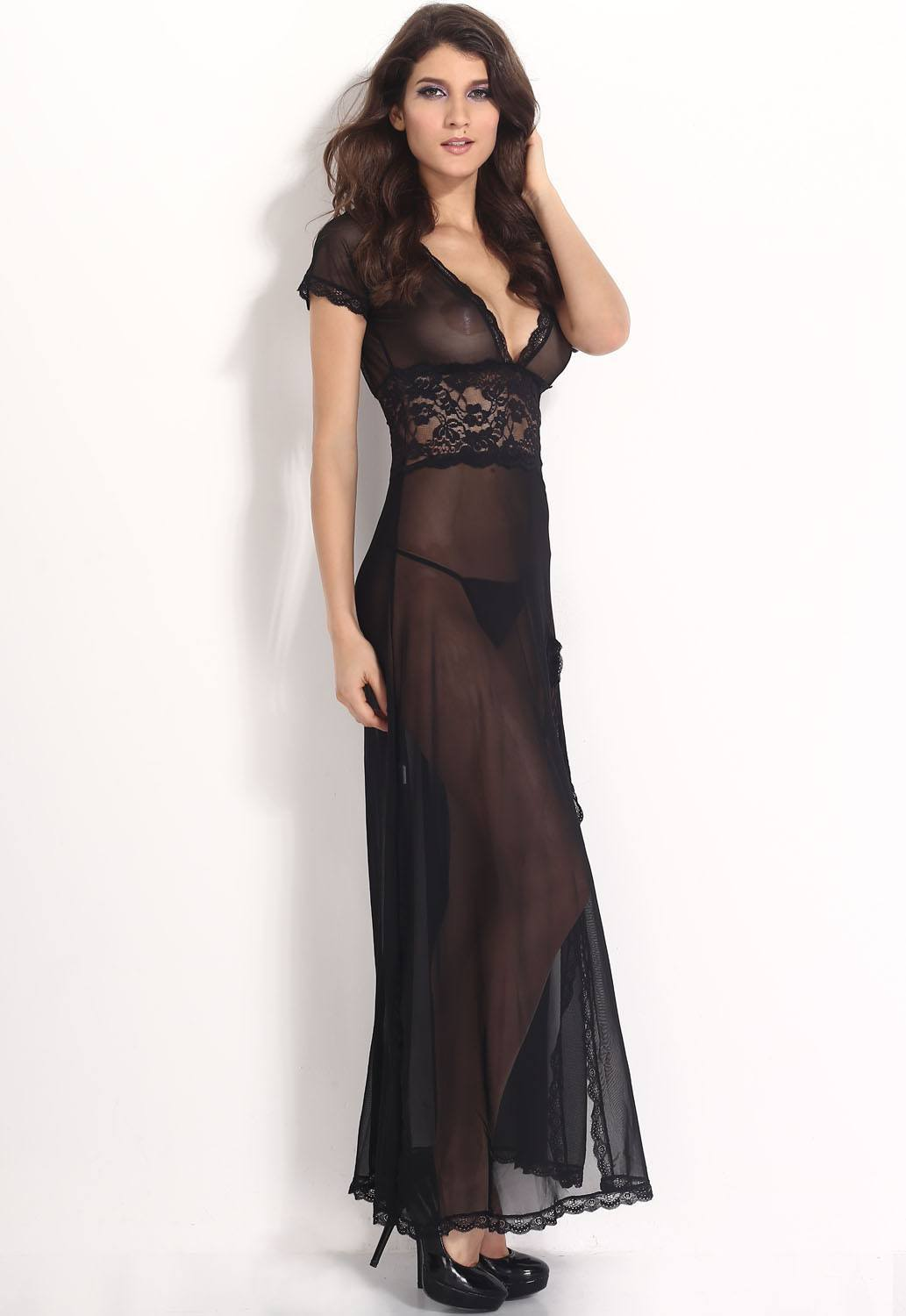 Lingerie - Black Mesh And Lace V Neck Lingerie Gown