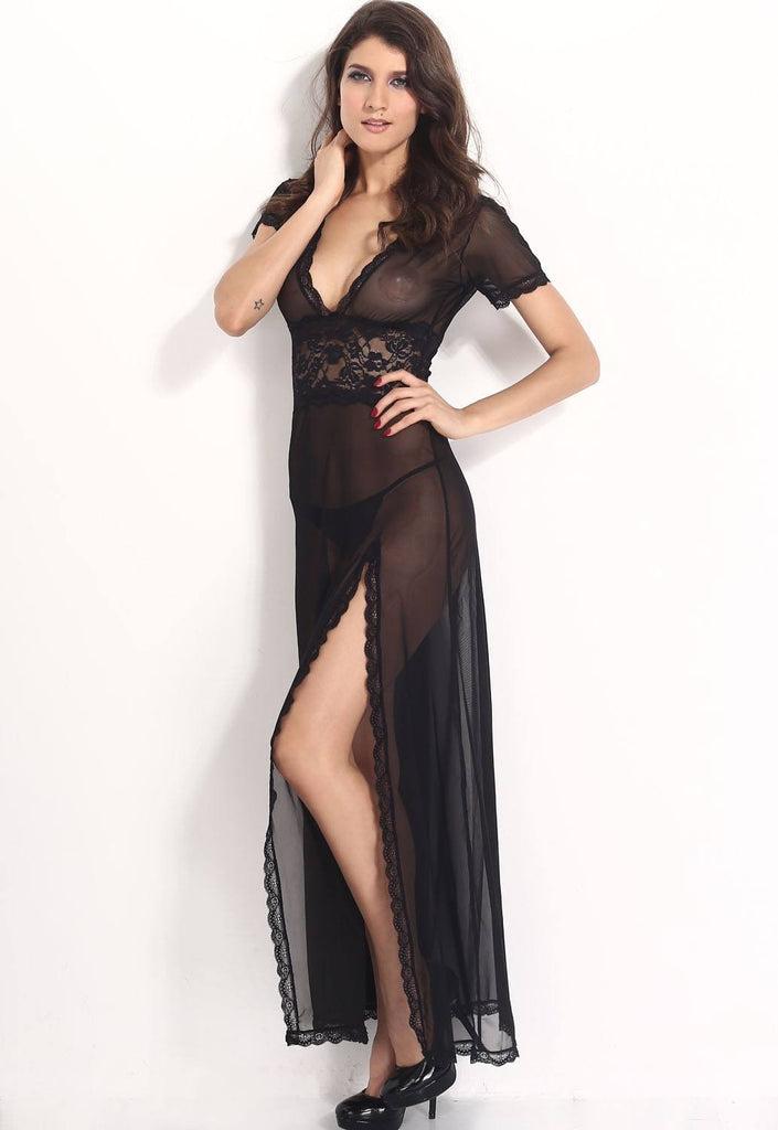Black Mesh and Lace V Neck Lingerie Gown