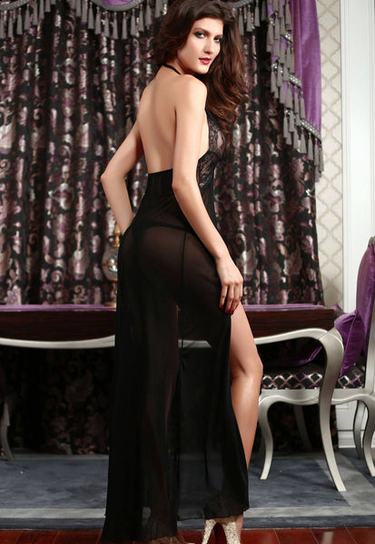 Lingerie - Black Sheer Lace Evening Gown Set
