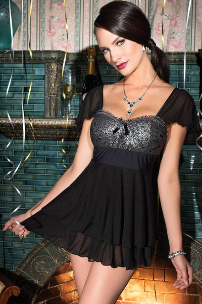 Lingerie - Captivating Featured Lace Cup Double-layer Babydoll