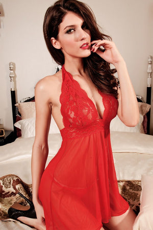 Merry Red Lace Mesh Babydoll - Ninostyle