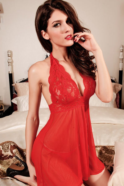 Lingerie - Merry Red Lace Mesh Babydoll