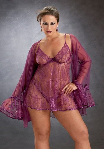 Lingerie - Plus Rose Princess Lace Badydoll Coat