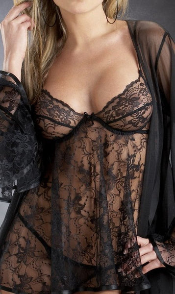 Lingerie - Plus Rose Princess Lace Badydoll Coat - Black
