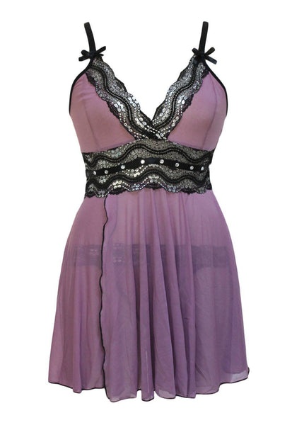 Lingerie - Purple Mesh-and-Metallic-Lace-Babydoll