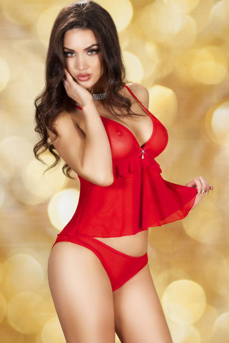 Red Babydoll Nightdress Set - Ninostyle