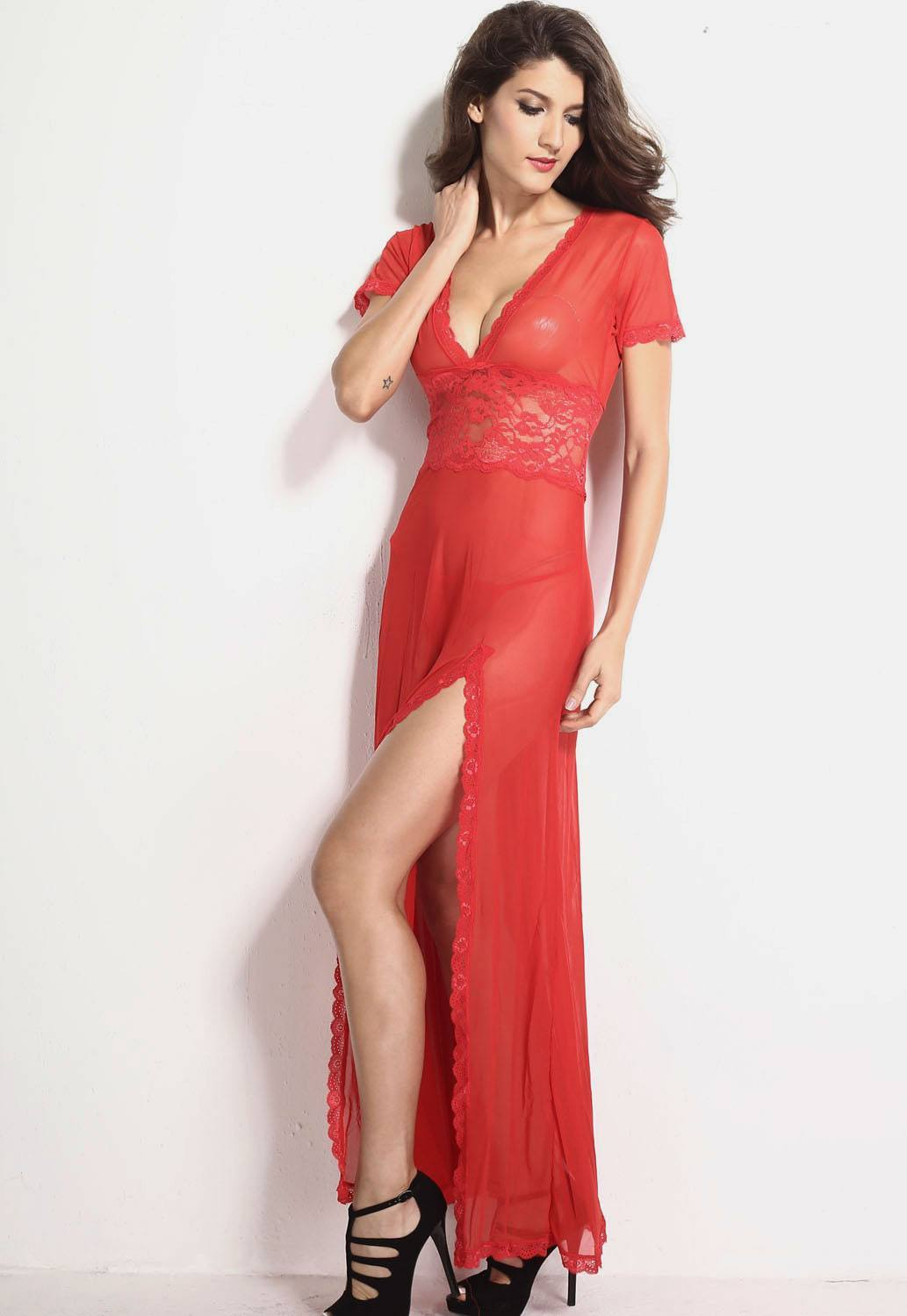 Red Mesh and Lace V Neck Lingerie Gown - Ninostyle
