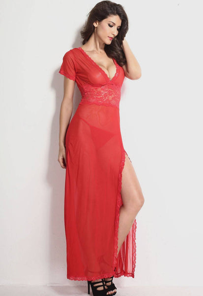 Lingerie - Red Mesh And Lace V Neck Lingerie Gown